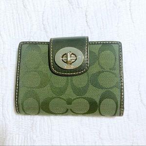 Coach Dark Green Leather Bi-Fold Wallet